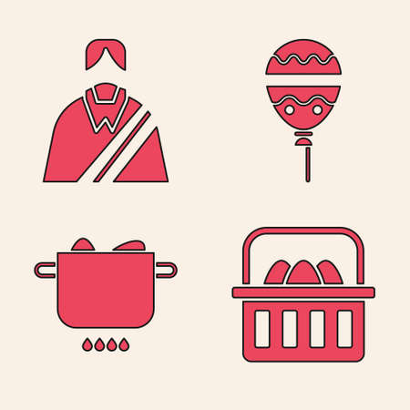 Set Basket with easter eggs, Jesus Christ, Balloons with ribbon and Egg in hot pot icon. Vector