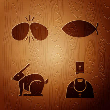 Set Priest, Easter eggs, Easter rabbit and Christian fish on wooden background. Vector