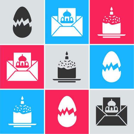 Set Broken egg, Greeting card with Happy Easter and Easter cake and candle icon. Vector