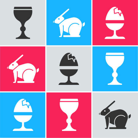 Set Wine glass, Easter rabbit and Chicken egg on a stand icon. Vector