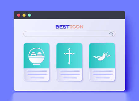 Set Christian cross, Basket with easter eggs and Peace dove with olive branch icon. Vector