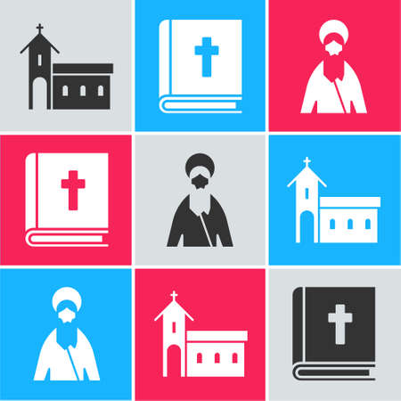 Set Church building, Holy bible book and Jesus Christ icon. Vector Çizim