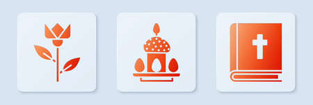 Set Easter cake and eggs, Flower tulip and Holy bible book. White square button. Vector