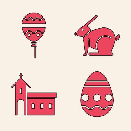 Set Easter egg, Balloons with ribbon, Easter rabbit and Church building icon. Vector Çizim