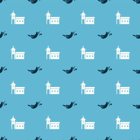 Set Peace dove with olive branch and Church building on seamless pattern. Vector
