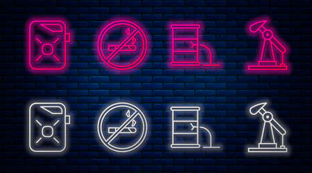 Set line No Smoking, Barrel oil leak, Canister for motor oil and Oil pump or pump jack. Glowing neon icon on brick wall. Vector Illusztráció