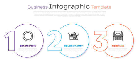Set line Sun, Easter egg and Basket with easter eggs. Business infographic template. Vector