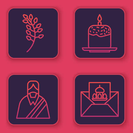 Set line Willow leaf, Jesus Christ, Easter cake and candle and Greeting card with Happy Easter. Blue square button. Vector