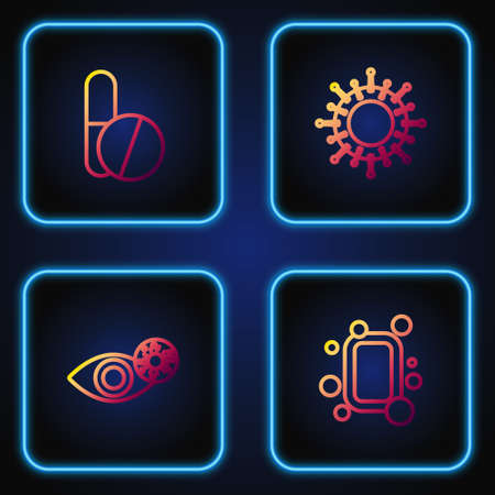 Set line Bar of soap, Reddish eye due to virus, Medicine pill or tablet and Virus. Gradient color icons. Vector Иллюстрация