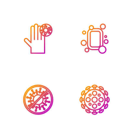 Set line Virus, Stop virus, Hand with and Bar of soap. Gradient color icons. Vector