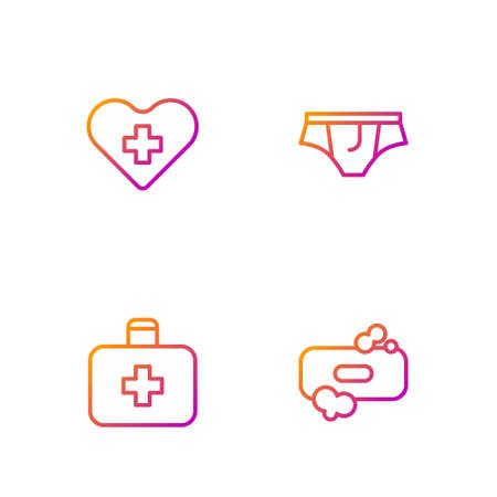 Set line Bar of soap, First aid kit, Heart with cross and Underwear. Gradient color icons. Vector