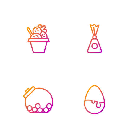 Set line Chocolate egg, Glass jar with candies inside, Ice cream bowl and Candy. Gradient color icons. Vector