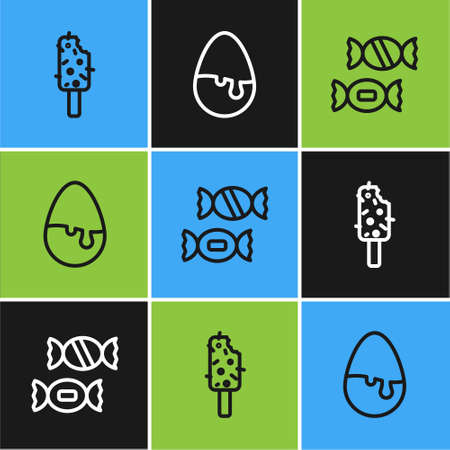 Set line Ice cream, Candy and Chocolate egg icon. Vector