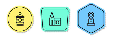 Set line Funeral urn, Church building and Location grave. Colored shapes. Vector Çizim