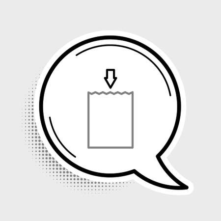 Line Paper shopping bag icon isolated on grey background. Package sign. Colorful outline concept. Vector