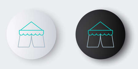 Line Circus tent icon isolated on grey background. Carnival camping tent. Amusement park. Colorful outline concept. Vector Illustration