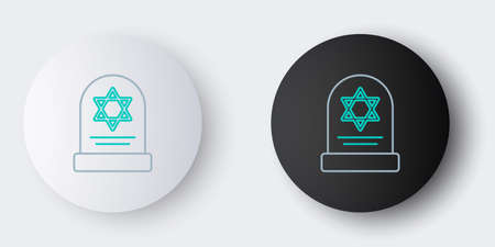 Line Tombstone with star of david icon isolated on grey background. Jewish grave stone. Gravestone icon. Colorful outline concept. Vector
