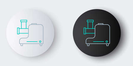 Line Kitchen meat grinder icon isolated on grey background. Colorful outline concept. Vector