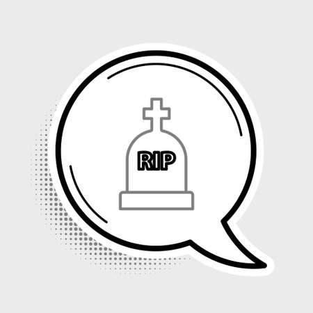 Line Tombstone with RIP written on it icon isolated on grey background. Grave icon. Colorful outline concept. Vector 矢量图像