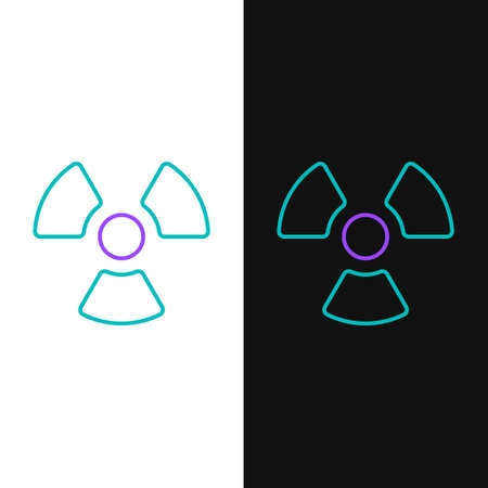 Line Radioactive icon isolated on white and black background. Radioactive toxic symbol. Radiation Hazard sign. Colorful outline concept. Vector