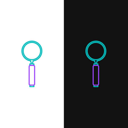 Line Magnifying glass icon isolated on white and black background. Search, focus, zoom, business symbol. Colorful outline concept. Vector