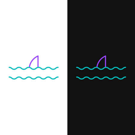 Line Shark fin in ocean wave icon isolated on white and black background. Colorful outline concept. Vector