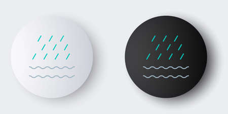 Line Rain and waves icon isolated on grey background. Rain cloud precipitation with rain drops. Colorful outline concept. Vector Illustration