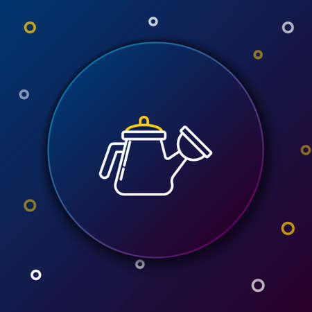 Line Watering can icon isolated on blue background. Irrigation symbol. Colorful outline concept. Vector