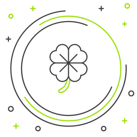 Line Four leaf clover icon isolated on white background. Happy Saint Patrick day. Colorful outline concept. Vector Illustration