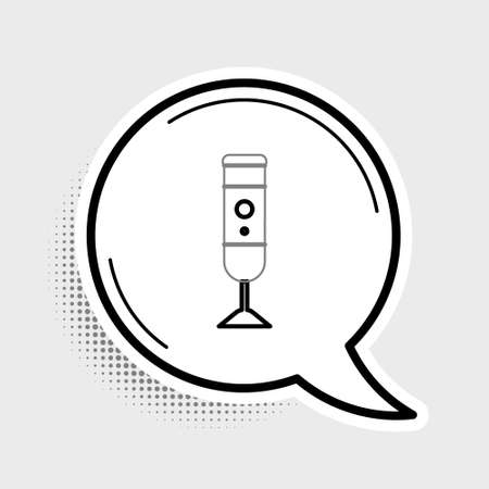 Line Blender icon isolated on grey background. Kitchen electric stationary blender with bowl. Cooking smoothies, cocktail or juice. Colorful outline concept. Vector