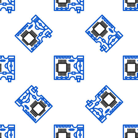 Line Printed circuit board PCB icon isolated seamless pattern on white background. Colorful outline concept. Vector