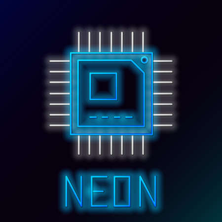 Glowing neon line Computer processor with microcircuits CPU icon isolated on black background. Chip or cpu with circuit board sign. Micro processor. Colorful outline concept. Vector