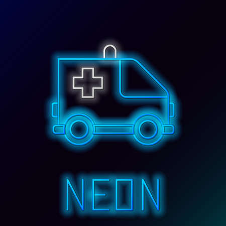 Glowing neon line Ambulance and emergency car icon isolated on black background. Ambulance vehicle medical evacuation. Colorful outline concept. Vector