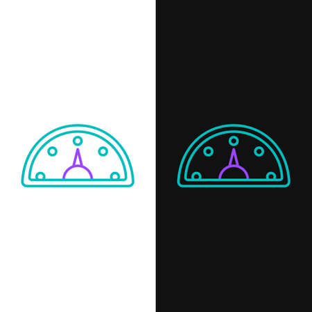 Line Speedometer icon isolated on white and black background. Colorful outline concept. Vector