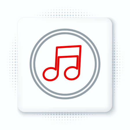 Line Music note, tone icon isolated on white background. Colorful outline concept. Vector Illusztráció
