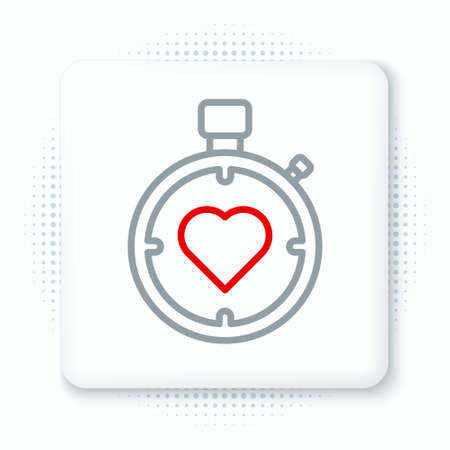 Line Heart in the center stopwatch icon isolated on white background. Valentines day. Colorful outline concept. Vector Illustration