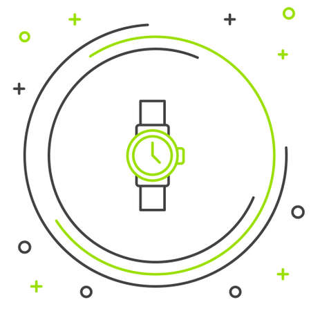Line Wrist watch icon isolated on white background. Wristwatch icon. Colorful outline concept. Vector Illustration