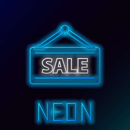 Glowing neon line Hanging sign with text Sale icon isolated on black background. Signboard with text Sale. Colorful outline concept. Vector