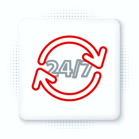 Line Clock 24 hours icon isolated on white background. All day cyclic icon. 24 hours service symbol. Colorful outline concept. Vector