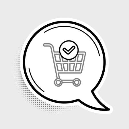 Line Shopping cart with check mark icon isolated on grey background. Supermarket basket with approved, confirm, done, tick, completed. Colorful outline concept. Vector Illustration
