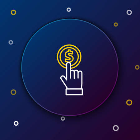 Line Hand holding coin icon isolated on blue background. Dollar or USD symbol. Cash Banking currency sign. Colorful outline concept. Vector