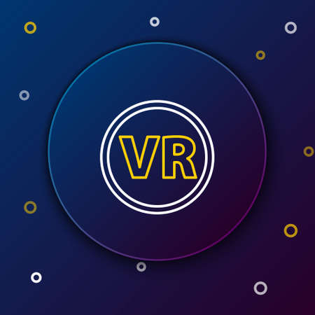 Line Virtual reality glasses icon isolated on blue background. Stereoscopic 3d vr mask. Colorful outline concept. Vector Illustration