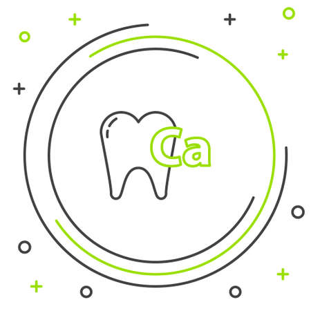 Line Calcium for tooth icon isolated on white background. Tooth symbol for dentistry clinic or dentist medical center. Colorful outline concept. Vector Illustration