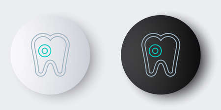 Line Tooth with caries icon isolated on grey background. Tooth decay. Colorful outline concept. Vector Illustration