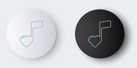 Line Music note, tone with hearts icon isolated on grey background. Valentines day. Colorful outline concept. Vector