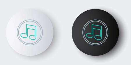 Line Music note, tone icon isolated on grey background. Colorful outline concept. Vector