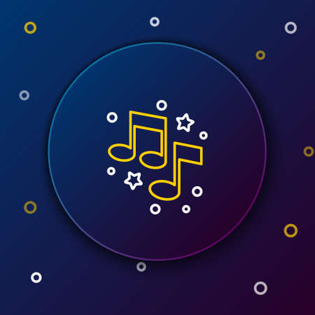 Line Music note, tone icon isolated on blue background. Colorful outline concept. Vector Illusztráció