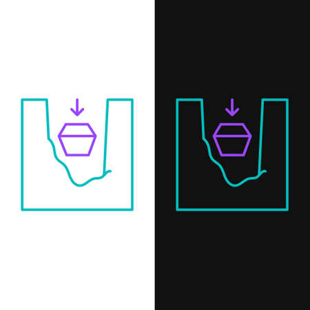 Line Coffin in grave icon isolated on white and black background. Funeral ceremony. Colorful outline concept. Vector