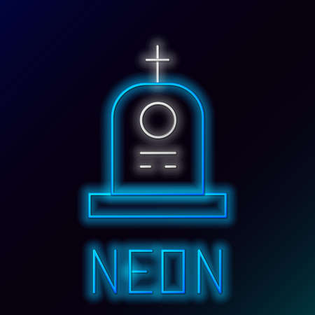 Glowing neon line Grave with tombstone icon isolated on black background. Colorful outline concept. Vector