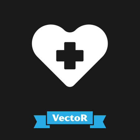 White Heart with a cross icon isolated on black background. First aid. Healthcare, medical and pharmacy sign. Vector Illustration